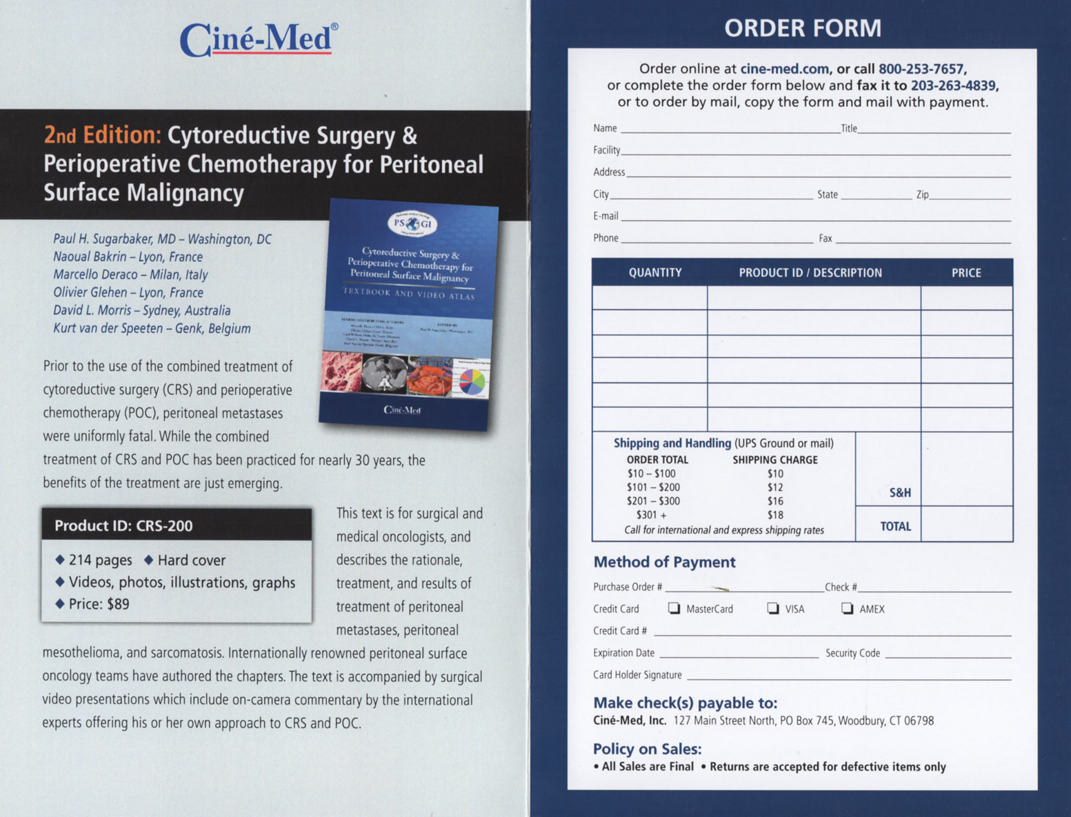 Cytoreductive Surgery and Perioperative Chemotherapy for Peritoneal Surface Malignancy - order form